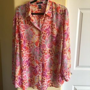 Chaps 2X Coral Rose Yellow Floral Tunic NWOT